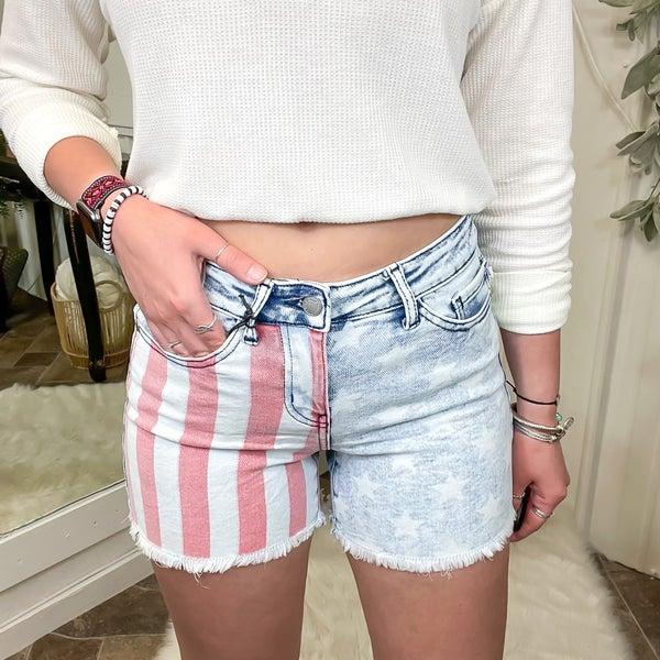 Judy Blue American Flag Shorts - JB150025