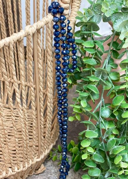 "Midnight Blue 36"" Crystal Bead Necklace"