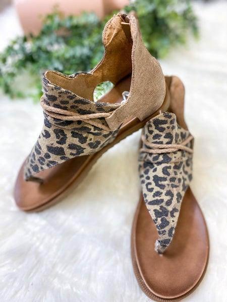Very G Angelika Sandal Tan Leopard- ALL SALES FINAL -
