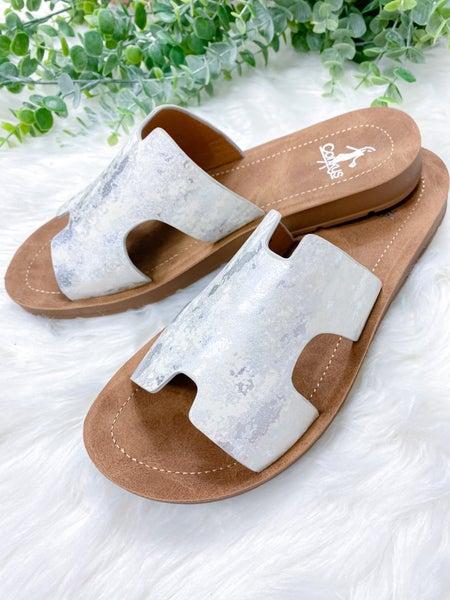 Corkys Bogalusa White Metallic Sandal