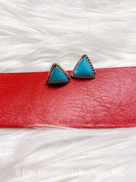 Authentic Turquoise Triangle Stud Earrings {ONLINE ONLY}*