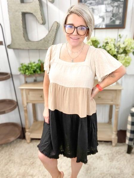 Oatmeal Color Block Linen Dress