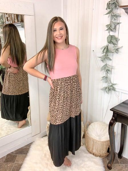 Rose & Leopard Color Block Midi Dress (ONLINE ONLY)*