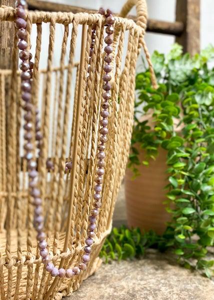 "Lavender & Mocha 36"" Crystal Bead Necklace"