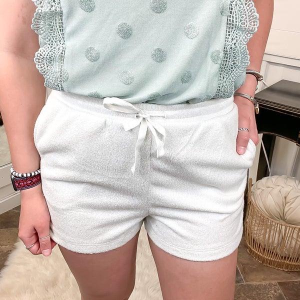 Pearl Grey Soft Knit Shorts