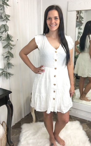 Ivory Swiss Dot Button Down Dress (ONLINE ONLY)*