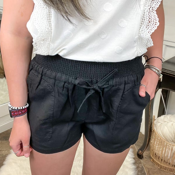 Black Smocked Waist Linen Shorts