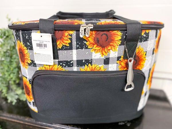 Sunflower & Plaid Nylon Cooler Bag