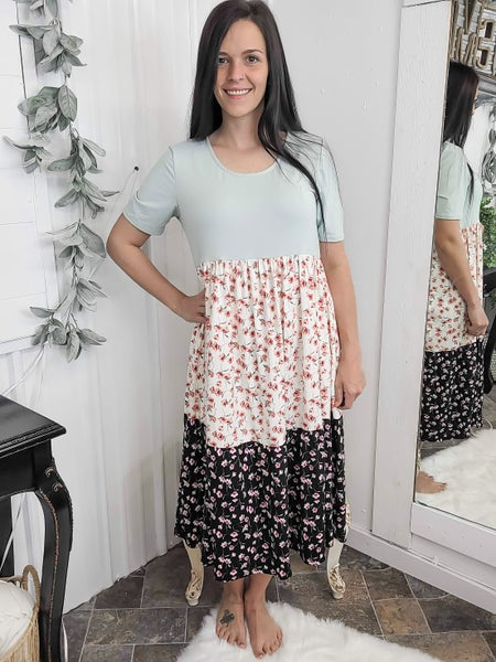 Sage Floral Tiered Midi Dress*