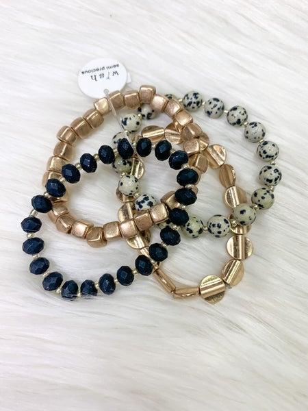Black & Gold Mixed Bead Bracelet Set