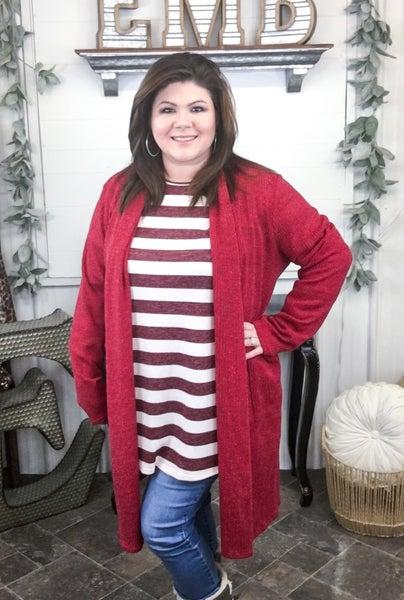 Dark Red Rib Knit Cardigan