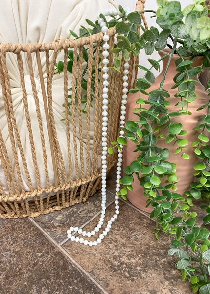 """White 36"""" Crystal Bead Necklace"""