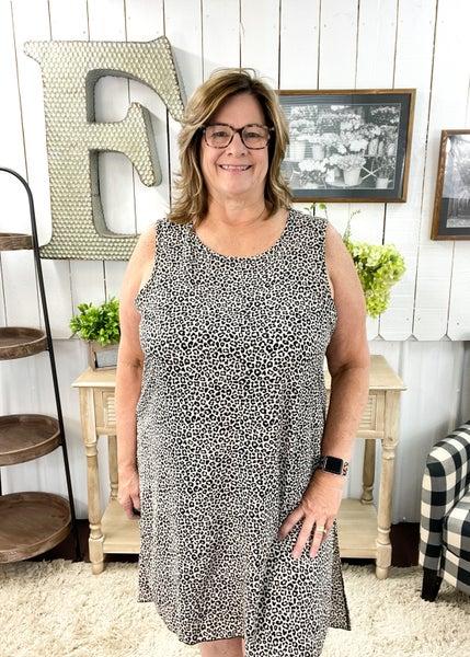 Taupe Animal Print Side Slit Dress