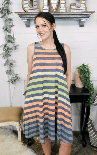 Sage & Orange Striped Dress (ONLINE ONLY)*