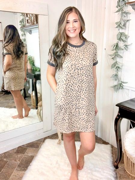 Taupe Leopard Spot Dress