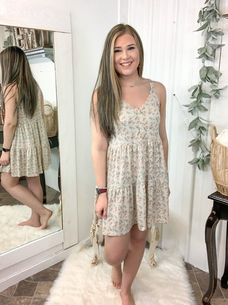 Beige Floral Tiered Dress (ONLINE ONLY)*