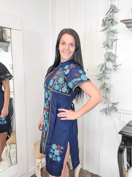 Navy Floral Embroidered Dress (ONLINE ONLY)*