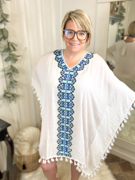 Aqua & Navy Embroidered Cover-Up