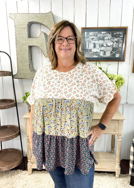 Ivory Floral Color Block Top