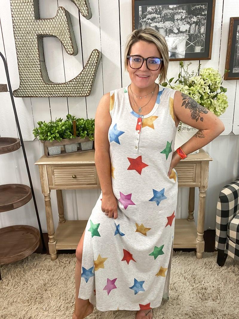 Heather Grey & Stars Henley Maxi Dress