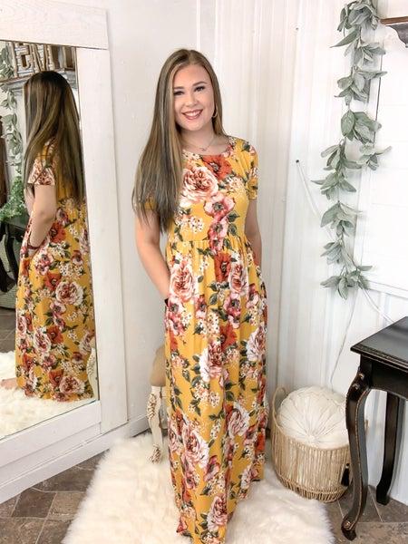 Mustard Floral Print Maxi Dress