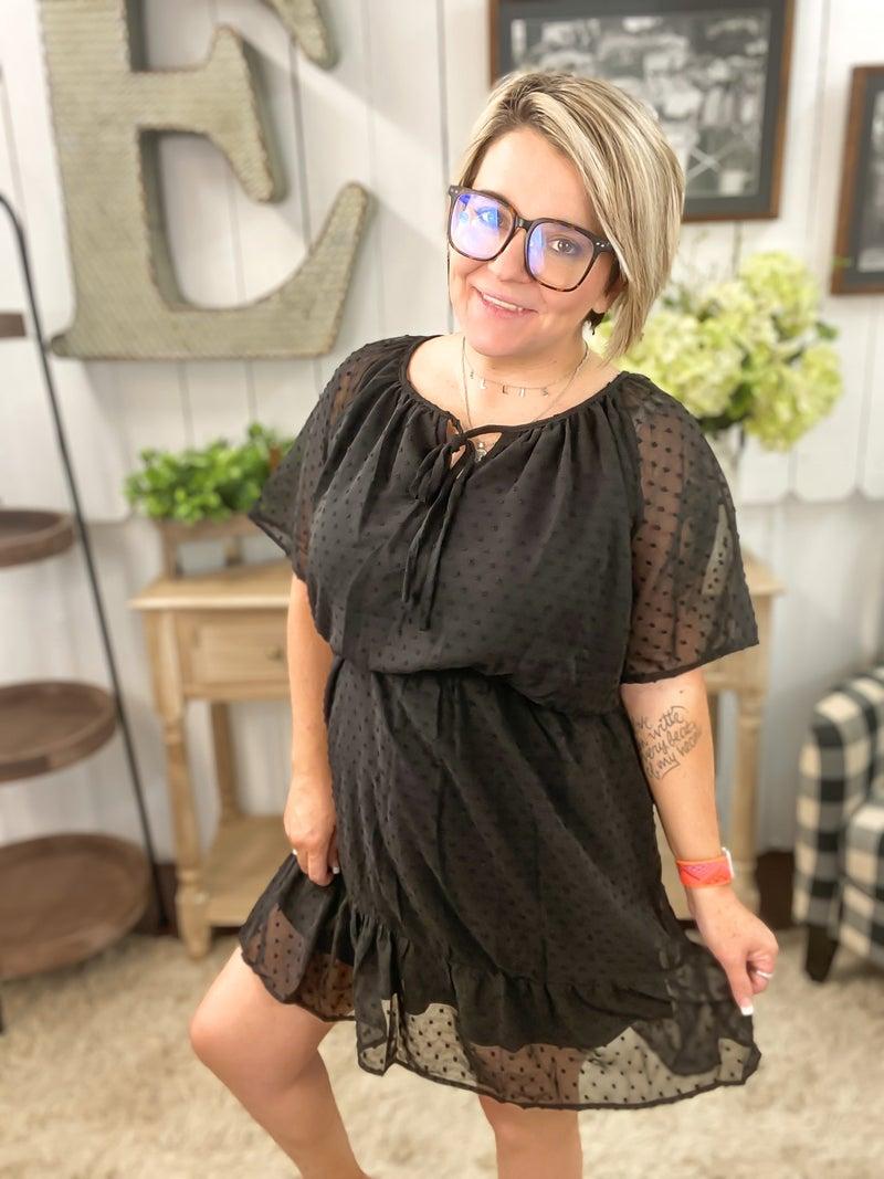 Black Chiffon Swiss Dot Dress