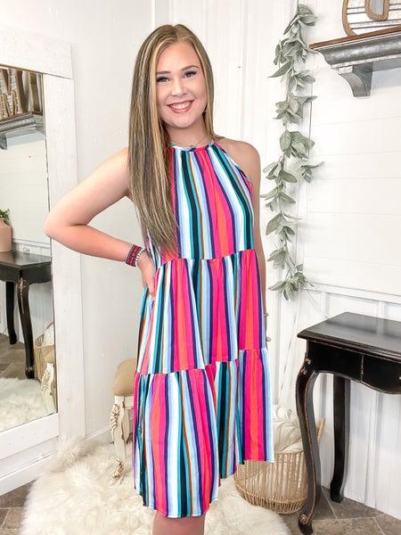 Radiant Stripes Halter Dress