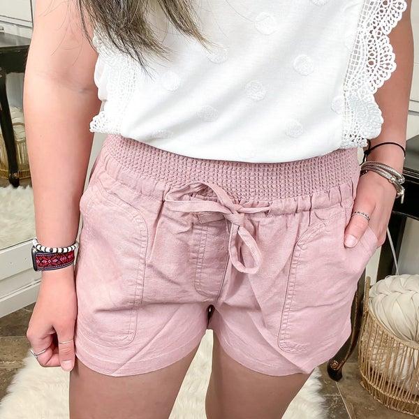 Mauve Smocked Waist Linen Shorts