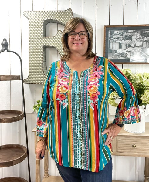 Serape & Floral Embroidered Top