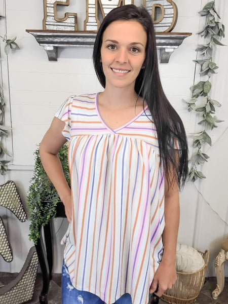 Mint Striped Baby Doll Top