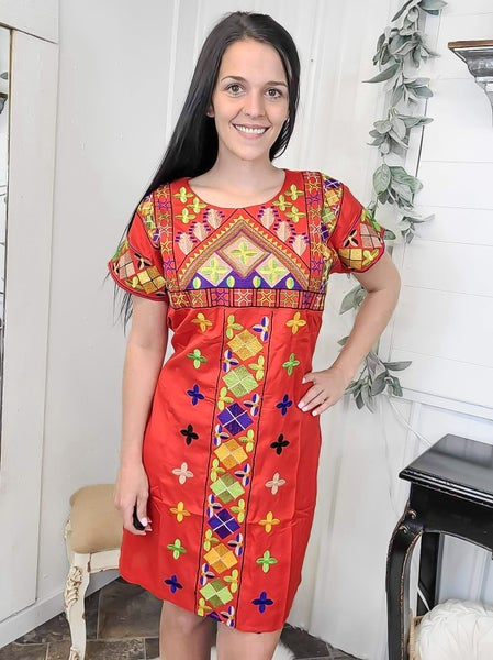 Red Embroidered Back Tie Dress (ONLINE ONLY)*
