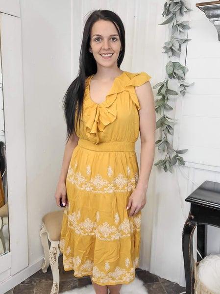 Marigold Embroidered Ruffle Midi Dress