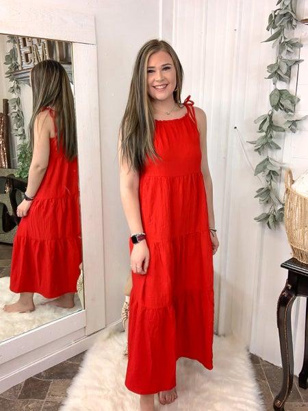 Red Tie Shoulder Maxi Dress {ONLINE ONLY}*