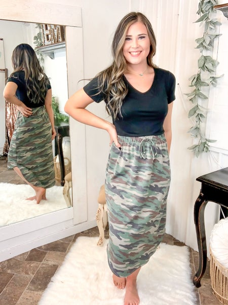 Olive Camo Midi Skirt