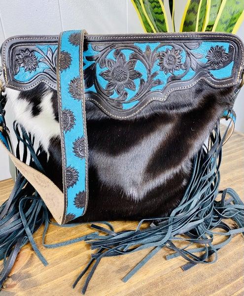 Myra Black Panther Hand-Tooled Bag