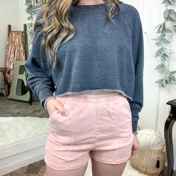 Dusty Rose Acid Wash Shorts (ONLINE ONLY)*