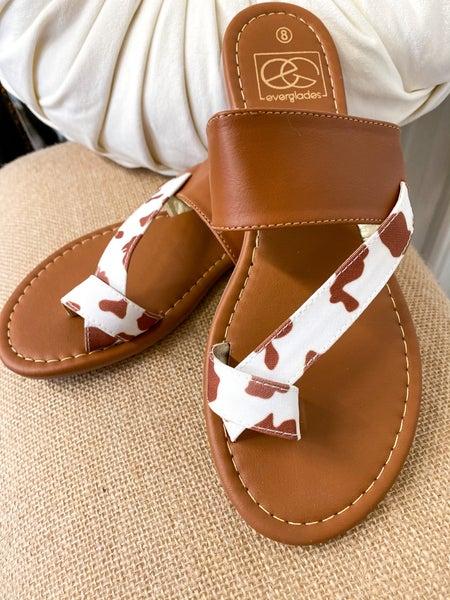 Mimi Tan Cow Print Sandal