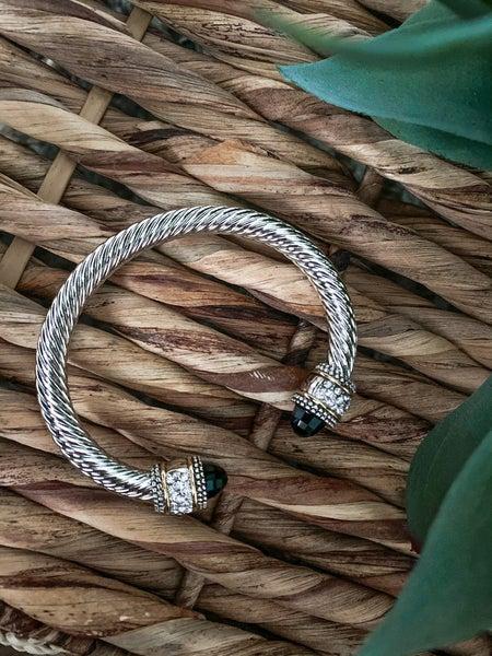 Black Stone & Rhinestone Cable Bracelet
