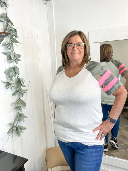 Heather Grey Camo Sleeve Raglan Top