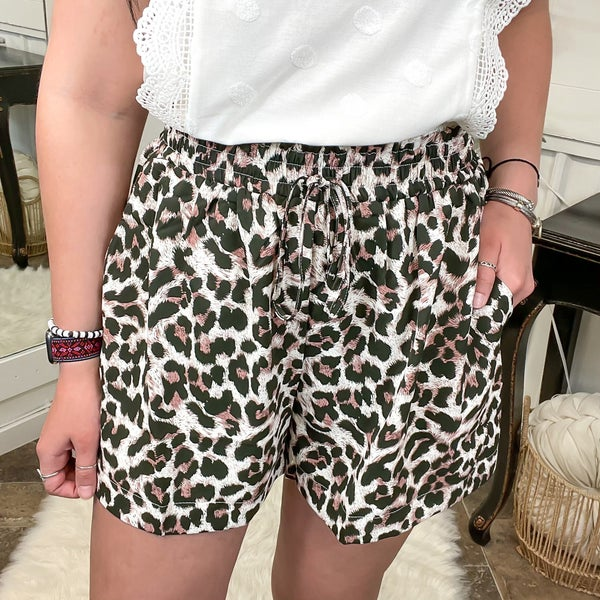 Leopard Print Smocked Waist Shorts