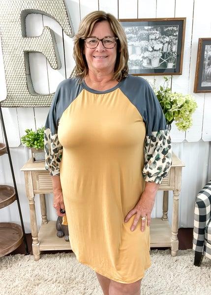 Mustard & Animal Print Sleeve Dress