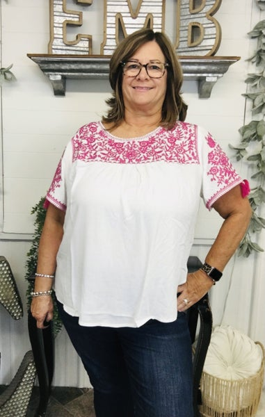 Fuchsia Embroidered Tassel Sleeve Top