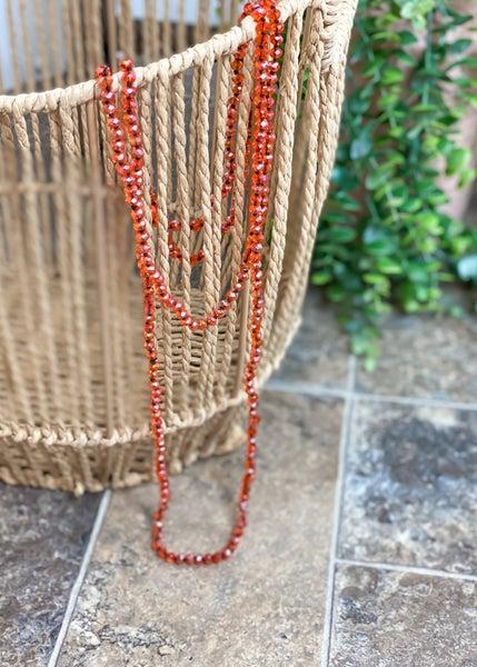 Iridescent Orange Crystal Skinny Bead Necklace