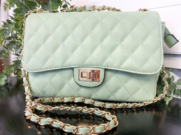 Mint Quilted Stitch Crossbody