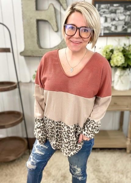 Animal Print & Rust Waffle Knit Color Block Top