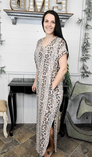 Blush Leopard Stripes Maxi Dress