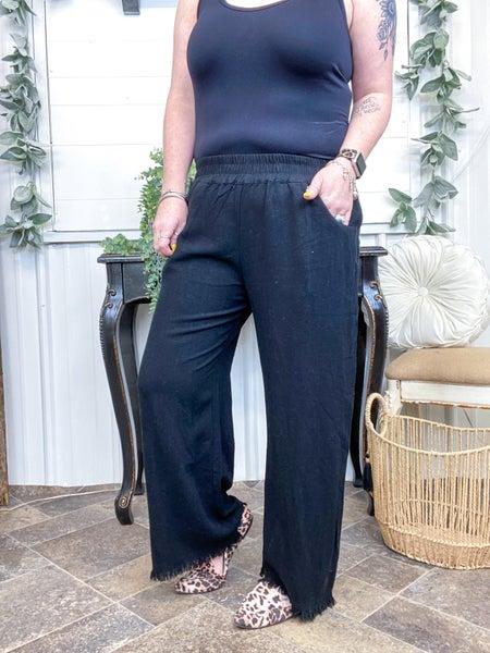 Black Linen Cropped Pants