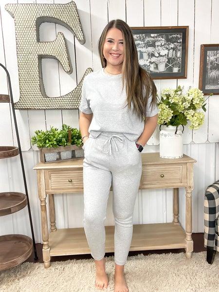 Heather Grey Cropped Top Lounge Set