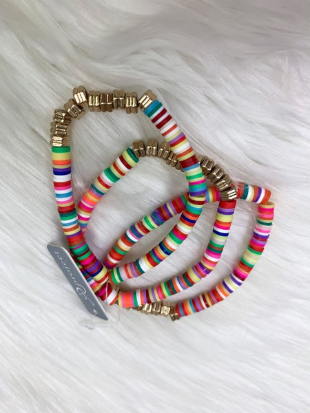 Colorful & Gold Heishi Bead Bracelet Set