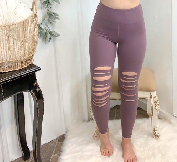 Dark Mauve Laser Cut High Rise Leggings